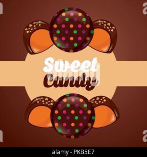 sweet candy macarons stuffed chocolates sign sticker vector illustration - Stock Photo