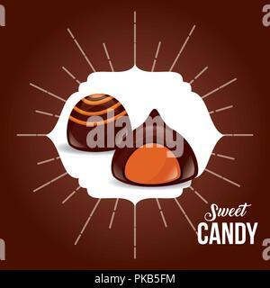 sweet candy chocolates macarons stuffed vector illustration - Stock Photo