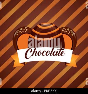 sweet candy stuffed macarons chocolate stripes background vector illustration - Stock Photo