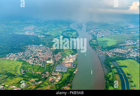 Aerial view of the Rhine River near Mainz in Germany - Stock Photo