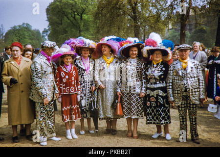 Pearly Kings and Queens in Hyde Park, London during the 1950s - Stock Photo