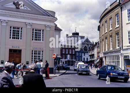 Romsey town centre before redevelopment, Hampshire in July 1988 - Stock Photo