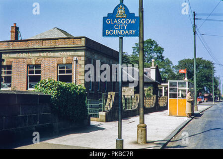 The British Linen Bank just inside the Glasgow City Boundary. Image taken on 9th June 1956 - Stock Photo