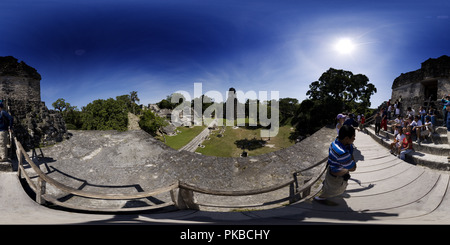 View of Gran Plaza from Temple II at Tikal - Stock Photo