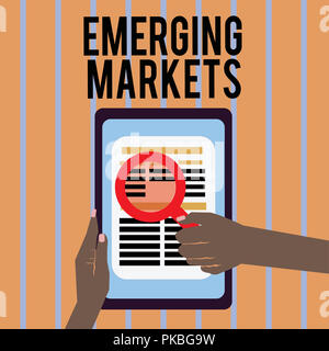 Conceptual hand writing showing Emerging Markets. Business photo text country that has some characteristics of developed stores. - Stock Photo