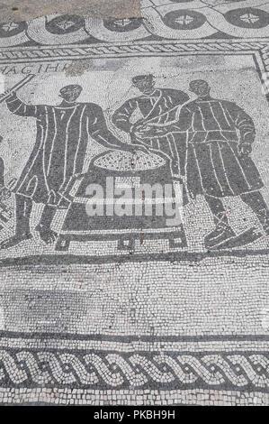 Italy, Lazio, Rome, Ostia Antica, mosaics  from Aula dei Misuratori del Grano. - Stock Photo