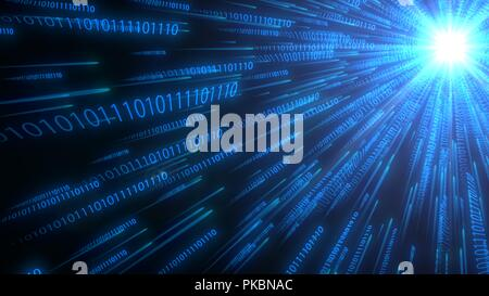 computer binary code chains moving to cpu. conceptual 3d illustration - Stock Photo