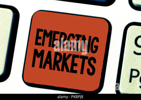 Conceptual hand writing showing Emerging Markets. Business photo showcasing country that has some characteristics of developed stores. - Stock Photo