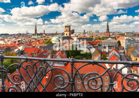 Aerial view of Copenhagen, Denmark - Stock Photo