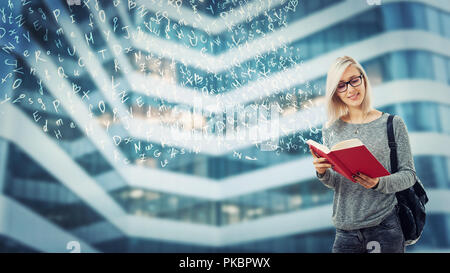 Young student female with a backpack and glasses reading a book imagine flying alphabet letters escape from pages. The magic of literature. Educationa - Stock Photo