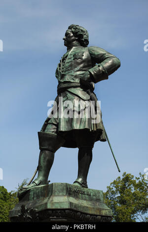 Monument to Peter the Great as the founder of the Kronstadt Fortress designed by French sculptor Napoleon Jacques (1841) in Kronstadt near Saint Petersburg, Russia. - Stock Photo
