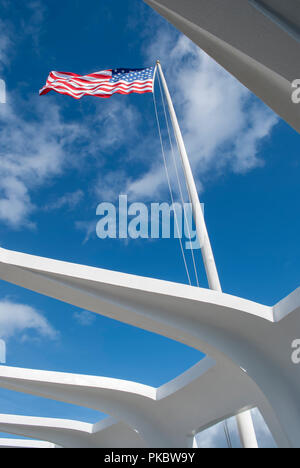 View of the American Flag through opening in roof in the Arizona Memorial in Pearl Harbor, Hawaii, USA. December 2010. - Stock Photo