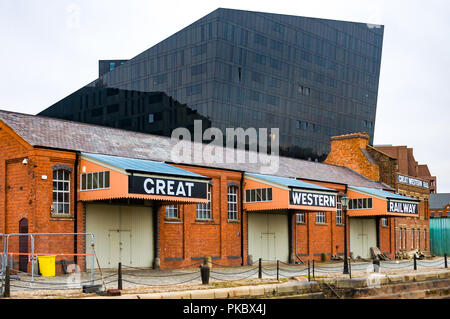 The old Great Western Railway buildings against modern architecture in Liverpool, England, UK - Stock Photo