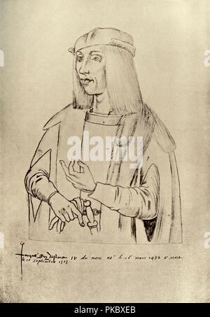 'James IV, King of Scotland', (1909). King James IV (1473-1513). 'From the drawing attributed to Jacques le Boucq of Artois in the Library of the town of Arras'. Illustration from Historical Portraits . [The Clarendon Press, Oxford, 1909] - Stock Photo