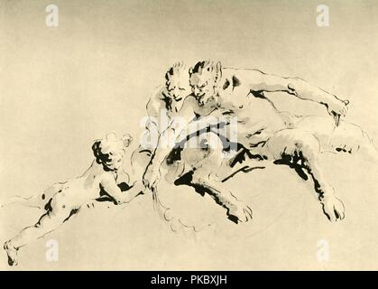 'Two Fauns and a Cupid', mid 18th century, (1928). Pen over preliminary pencil sketch. At one time known to have been in the collection of the Horne Foundation, Florence, Italy. Italian Venetian painter and printmaker Giovanni Battista Tiepolo (1696-1770), worked not only in Italy, but also in Germany and Spain. He was commissioned to carry out frescoes in churches and palaces, and was elected President of the Academy of Padua. As well as his large-scale majestic works, he also produced etchings and oil paintings, and is widely regarded as one of the most important artists of the period. Illus - Stock Photo