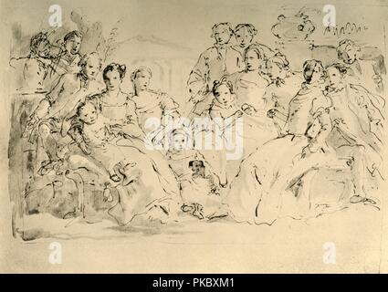 'Sketch for a Group Portrait', mid 18th century, (1928). Pen with wash over pencil on paper. At one time known to have been in the collection of the Horne Foundation, Florence, Italy. Italian Venetian painter and printmaker Giovanni Battista Tiepolo (1696-1770), worked not only in Italy, but also in Germany and Spain. He was commissioned to carry out frescoes in churches and palaces, and was elected President of the Academy of Padua. As well as his large-scale majestic works, he also produced etchings and oil paintings, and is widely regarded as one of the most important artists of the period. - Stock Photo