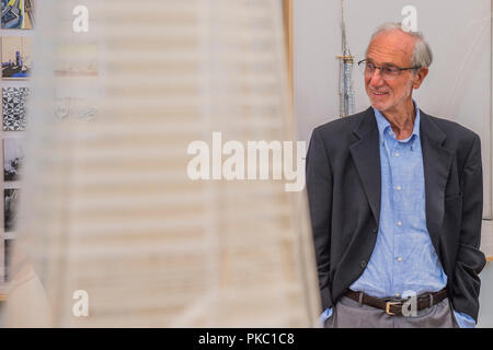 London, UK. 12th Sep, 2018. Renzo Piano with models for the Shard - Renzo Piano: The Art of Making Buildings in the Gabrielle Jungels-Winkler Galleries of the Royal Academy of Arts. Piano is an architect and Honorary Royal Academicianand this is the first comprehensive survey of hiss career to be held in London since 1989 - forming part of the 250th anniversary of the Royal Academy. Credit: Guy Bell/Alamy Live News - Stock Photo