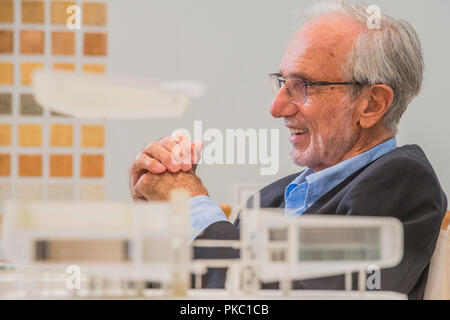 London, UK. 12th Sep, 2018. Renzo Piano witn model for Centro Botin - Renzo Piano: The Art of Making Buildings in the Gabrielle Jungels-Winkler Galleries of the Royal Academy of Arts. Piano is an architect and Honorary Royal Academicianand this is the first comprehensive survey of hiss career to be held in London since 1989 - forming part of the 250th anniversary of the Royal Academy. Credit: Guy Bell/Alamy Live News - Stock Photo
