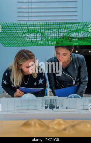London, UK. 12th Sep, 2018. Studying models for the California Institue of Sciences - Renzo Piano: The Art of Making Buildings in the Gabrielle Jungels-Winkler Galleries of the Royal Academy of Arts. Piano is an architect and Honorary Royal Academicianand this is the first comprehensive survey of hiss career to be held in London since 1989 - forming part of the 250th anniversary of the Royal Academy. Credit: Guy Bell/Alamy Live News - Stock Photo