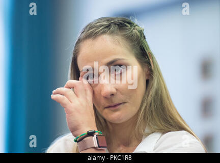 Berlin, Germany. 12th Sep, 2018. The paraplegic Olympic cycling champion Kristina Vogel will give a press conference at the Trauma Hospital Berlin-Marzahn. After a training crash on June 26, Vogel will be treated at the special clinic in Berlin. Credit: dpa picture alliance/Alamy Live News - Stock Photo