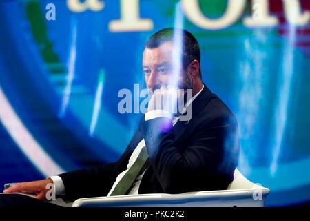 Italy, Rome, 11 September, 2018 : Italian Interior Minister and vice premier, Matteo Salvini at the talk show 'Porta a porta'     Photo © Remo Casilli/Sintesi/Alamy Live News - Stock Photo
