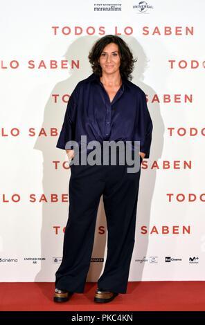 Presentation of Todos lo saben film at URSO Hotel in Madrid, Spain. September 12, 2018.   Sierra/797/Cordon Press  Elvira Minguez - Stock Photo