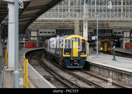 London Waterloo, UK. 12th Sep 2018. Southwestern railway trains waiting in the platforms at London Waterloo railway station during a month of industrial action by the train guards regarding their future role on trains and the plans to introduce driver only operation of services across the Southwestern railway train operator network. Futher strikes by the guards panned for this week and further disruption likely to the commuters and travelling public on the route. Credit: Steve Hawkins Photography/Alamy Live News - Stock Photo
