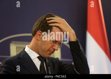 Bucharest, Romania - September 12, 2018: Dutch Prime Minister Mark Rutte, speaks during the joint press conference with his Romania counterpart Viorica Dancila at Victoria Palace in Bucharest. Credit: Gabriel Petrescu/Alamy Live News - Stock Photo