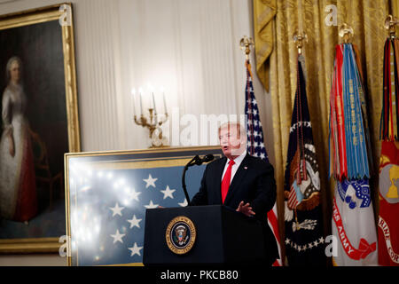 Washington, DC, USA. 12th Sep, 2018. U.S. President Donald Trump speaks during a Congressional Medal of Honor Society Reception at the White House in Washington, DC, the United States, on Sept. 12, 2018. Credit: Ting Shen/Xinhua/Alamy Live News - Stock Photo