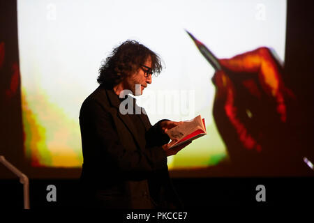 London, UK. 12th Sep 2018. Neil Gaiman and Chris Riddle at the newly opened EartHackney,  Art Matters Live hosted brilliantly by Lauren Laverne,  12th September 2018. London. Credit: Thomas Bowles/Alamy Live News - Stock Photo