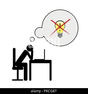 exhausted business man at his desk have no idea pictogram concept of stress, burnout, headache, depression vector illustration - Stock Photo