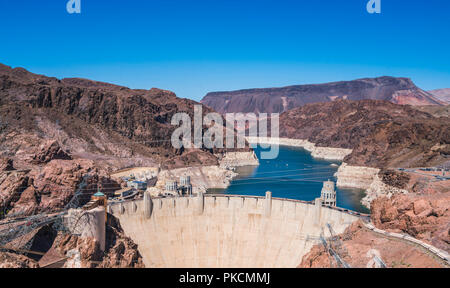 hoover dam on sunny day,Nevada,usa. - Stock Photo