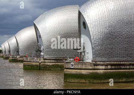Thames Barrier, movable flood barrier situated on the River Thames in South East London, England, United Kingdom - Stock Photo