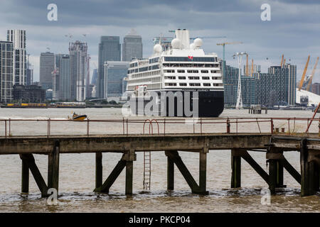 Azamara Cruise ship passes through the Thames Barrier, movable flood barrier situated on the River Thames in South East London, England, UK - Stock Photo