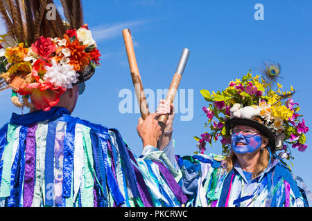 Morris dancers, members of Exmoor Border Morris at the Swanage Folk Festival, Dorset UK on a lovely warm sunny day in September 2018 - Stock Photo