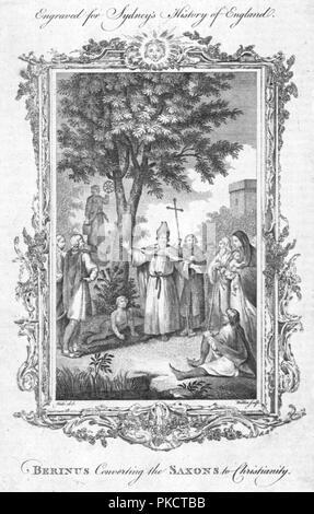 'Berinus Converting the Saxons to Christianity.', (c1774). Artist: Walker. - Stock Photo