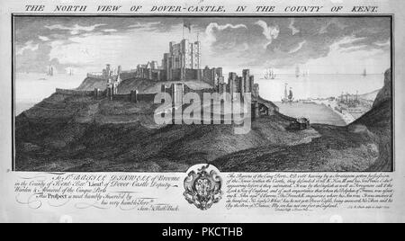 'The North View of Dover-Castle, in the County of Kent.', c1735. Artists: Samuel Buck, Nathaniel Buck. - Stock Photo