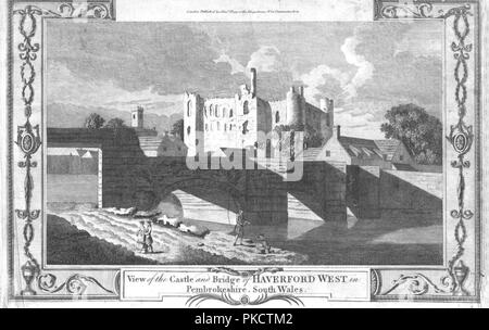 'View of the Castle and Bridge of Haverford West in Pembrokeshire.', late 18th century. Artist: Unknown. - Stock Photo