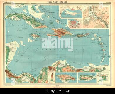 Geographical map of the West Indies. Artist: Unknown. - Stock Photo