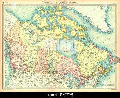 Political map of the Dominion of Canada. Artist: Unknown. - Stock Photo