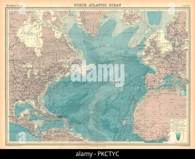 Map of the North Atlantic Ocean. Artist: Unknown. - Stock Photo