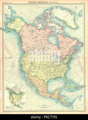 Political map of North America. Artist: Unknown. - Stock Photo
