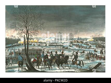 Battle near Hohenlinden, 3 December 1800, c1850).  Artist: Edme Bovinet. - Stock Photo