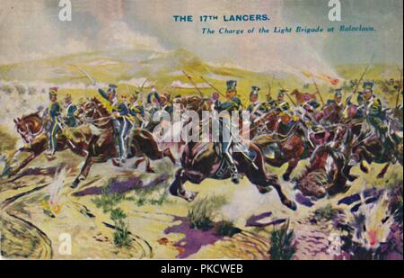 'The 17th Lancers. The Charge of the Light Brigade at Balaclava', 1854, (1939). Battle at Balaklava, Crimean War, Russia, 25 October 1854, with lines of the cavalry advancing straight into a line of cannon fire. Lord Raglan gave the order for the disastrous British cavalry charge, immortalised in Tennyson's poem, in which the Light Brigade suffered 40% casualties. From Battles for the Flag, a set of cards given away with British boys' comic The Wizard. [D. C. Thomson & Co., Dundee, 1939] - Stock Photo