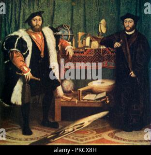 'The Ambassadors', 1533, (1909). Artist: Hans Holbein the Younger. - Stock Photo