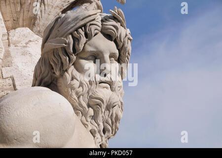 Italy, Lazio, Rome, Centro Storico, Piazza Navona, fountain detail, Bernini's Fontana dei Quattro Fiumi. - Stock Photo