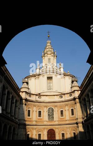Italy, Lazio, Rome, Centro Storico, church of Sant'Ivo all Sapiens. - Stock Photo