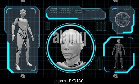 3D rendering of an artifiacial robot woman - Stock Photo
