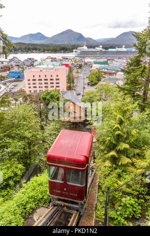The view of the harbour from Cape Fox Lodge at the top of the Cape Fox Hill - Creek Street Funicular (known as 'the tram') in Ketchikan, Alaska USA - Stock Photo