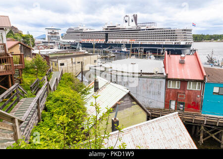 Looking down from the slopes above the harbour in Ketchikan, Alaska USA - Stock Photo